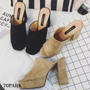 #Suede Mule Sandals スエード調 太ヒール ミュール サンダル 全2色