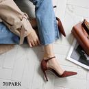 #Simple Pointed Toe Heel Pumps アンクルストラップ 細ヒール シンプル パンプス 全2色 9サイズ展開