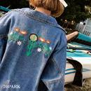 #Floral Embroidered Denim Jacket    フラワー 刺繍 デニムジャケット ブルー Gジャン