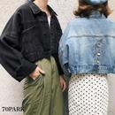 #Cropped Denim Jacket クロップド デニム ジャケット 全2色 Gジャン ショート丈