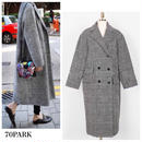 #Glen Check Oversized Coat  グレンチェック オーバーサイズ コート グレー ロングコート