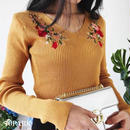 #Flower Embroidery  Rib Knit Top  フラワー刺繍入り Vネック リブ ニット 全5色 長袖