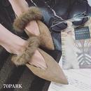 # 2way Fur Slit Pumps ファー付き スリット パンプス   2色 シューティー スリッパ