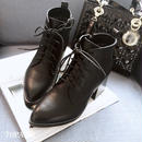 # Black Lace-up Ankle Boots レースアップブーツ  ブラック ショートブーツ