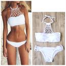 #Mesh White Bikini-Swimwear- メッシュ ホルターネック ホワイト ビキニ 水着