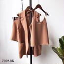 #Sleeveless Jacket + Camisole + Shorts Set  ルーズフィット ノースリーブ ジャケット 3点セット 全3色 セットアップ スーツ