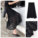 #Polka Dot See-through Skirt ドット柄  シースルー フレア スカート ブラック