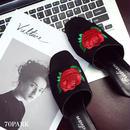 #Rose Embroidered Heel Sandal ローズ 刺繍 ヒール スリッパ ブラック ミュール