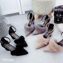 #Ankle Strap Fur Pumps  ポインテッドトゥ ファー パンプス  全3色 アンクルストラップ