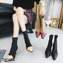 #Back Zip Bi-Color Ankle Boots 配色 切り替え ソックス ブーツ 全3色 ショートブーツ
