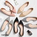 #Faux Leather Flat Shoes スエード調 ローヒール ポインテッドトゥ パンプス 全4