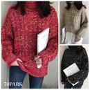 #Cable Knit Turtleneck Sweater ミックスカラー ケーブル編み タートルネック ニット 全3色 ケーブルニット