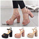 #Ankle Strap Open Toe Chunky Heels オープントゥ ストラップ パンプス全3色 チャンキーヒール