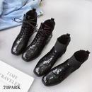 #Crocodile Embossed Short Boots  クロコ 型押し エナメル ショートブーツ 全2タイプ ブラック