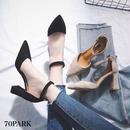 # Pointed Toe Ankle Strap  Heels スエード調 チャンキーヒール ストラップ パンプス 全2色
