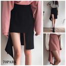# High Waist Asymmetric Skirt アンバランスヘム ハイウエスト タイトスカート 全2色