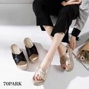 #Cross Strap Velvet Platform Sandals ベロア クロス プラットフォーム 厚底 サンダル 全2色