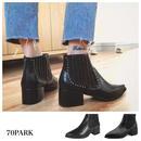 #Pointed Toe Side Gore Boots ポインテッドトゥ スタッズ付 ローヒール ショートブーツ 全2タイプ クロコ型押し