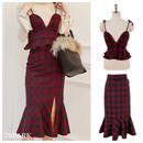 #Tartan Checked Skirt Set タータンチェック柄 リボンビスチェ×スカート 2点 セット レッド