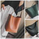 #Side Chain Bucket bag  サイドチェーン 大容量 バケツバッグ 全3色 巾着ポーチ付