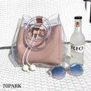 # PVC Ring Handle Bucket Bag  ポーチ付 PVC クリア リング ハンドル バケツバッグ 全3色