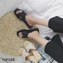 #Criss Cross Flat Sandals フェイクレザー クロス フラット サンダル 全2色