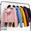 #Faux Leather Riders Jacket  ベルト付き PUレザー カラー ライダース ジャケット 全5色