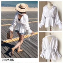 #White Cut Out Back Blouse  背中開き ボリューム袖 シャーリング ブラウス 白