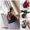 #Bow Tie velvet Bucket bag  ベロア 変形 リボン チェーン バッグ 全4色 グレンチェック