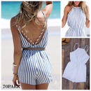 # High Neck Striped Open Back Romper  ストライプ柄 ハイネック 背中開き ロンパース カバーアップ
