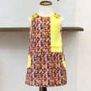 女の子用北欧ブランドプリント柄ワンピース Kids Sleeveless dress in Laine print and yellow block color