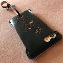 1点物【コードバン製】iPhone8 sj 林檎印 オイルコードバン黒