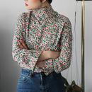 spring flower pt mockneck blouse