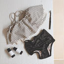 block check shirring swim suit