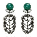 FEATHER cut steel stone earring