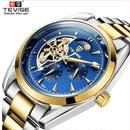 TEVISEサン&ムーン ムーンフェイズ オートマティック 機械式腕時計  メンズ ビジネス