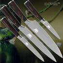 【4本SET】ダマスカス模様 ステンレス キッチンナイフ シェフスライシングナイフ ユーティリティナイフ5 果物ナイフ