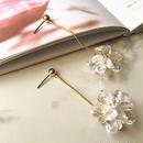 crystal  flower chain pierce
