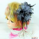 髪飾り コサージュ 大花パール グレー ヘアアクセ 結婚式 成人式