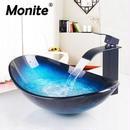 Monite シンクボウル グラデーションが美しいブルーの洗面ボウル 強化ガラス製 手洗いボウル 蛇口セット バスルーム トイレ 流し台 洗面台 飲食店 ホテル