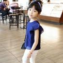 【人気】フリル袖ブルーシャツ