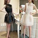 花柄レース フレアスカート ミニドレス  韓国ファッション