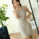 プリント ノースリーブ ワンピース 韓国ファッション