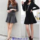 美シルエット ローウエストフレアーワンピース 韓国ファッション