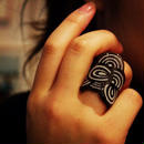 Seigaiha(Sea wave) Ring RING black lame