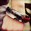 KIMONO BANGLE  Black silver & blue red
