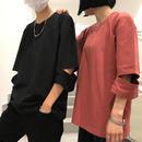 [HOT]カットデザイン7部丈Tシャツ 3カラー