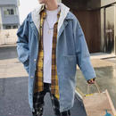 【HOT】ロング丈デニムジャケット