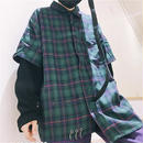 【COOL】リング付きレイヤーチェックシャツ 2カラー