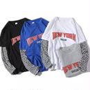 【大人気】NEWYORKデザインロングTシャツ 4カラー